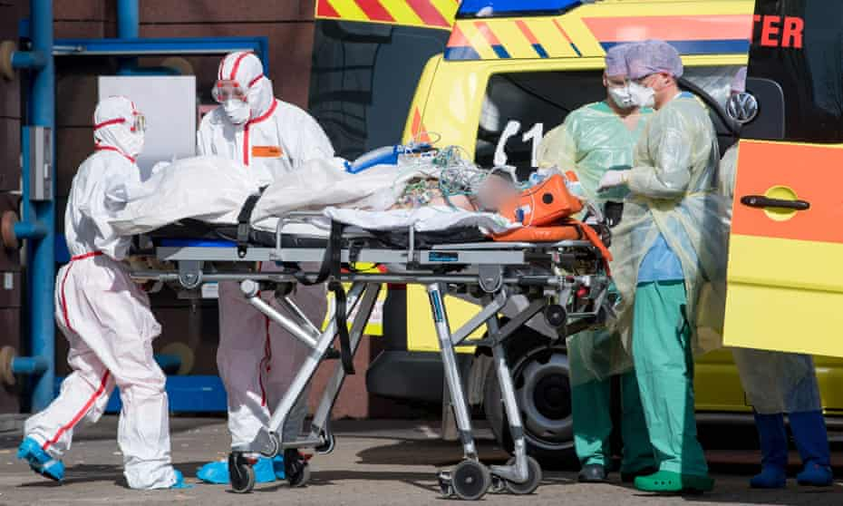 A coronavirus patient is transferred to a hospital in Leipzig, Saxony.