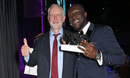 Oh Jeremy Corbyn: Stormzy with the Labour leader at the GQ Men of the Year awards 2017.