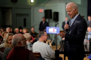 Joe Biden answers a question at a town hall meeting in Exeter, New Hampshire.