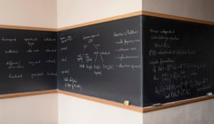 The blackboard of David Damanik, Rice University.