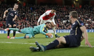 Dinamo Zagreb's Eduardo claims the ball as Arsenal look for another goal.