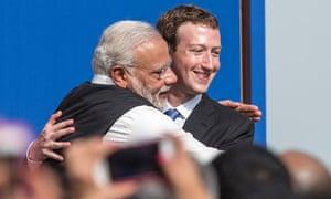 Facebook boss Mark Zuckerberg hugging Indian Prime Minister Narendra Modi in September 2015.