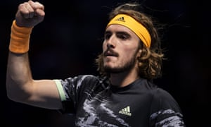Stefanos Tsitsipas during his 6-3, 6-4 victory against Roger Federer in the semi-finals of the ATP World Tour Finals.