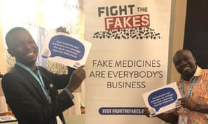 Activists for the campaign group Fight the Fakes at a Wellcome Trust-sponsored launch in Accra, Ghana