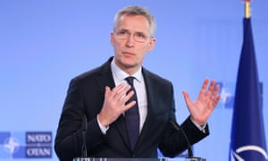 Nato's secretary general Jens Stoltenberg speaks during an extraordinary meeting on Syria in Brussels.