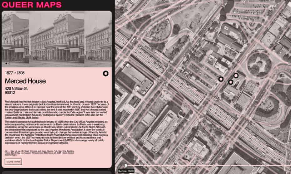 A screen shot from Queer Maps featuring Merced House, a theater for masquerade balls and 'vile orgies'.
