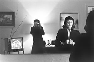 June photographed by her husband, Helmut Newton, at the Hotel Volney, New York, 1972