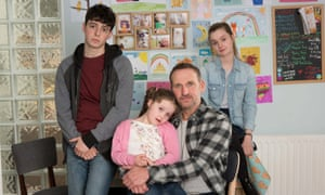 Christopher Eccleston, with Anthony Boyle,  Darcey McNeeley and Lola Petticrew, in the 'superb' Come Home.