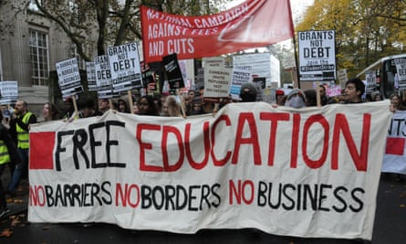 Students protest in London against the Conservative government's further cuts to free education.