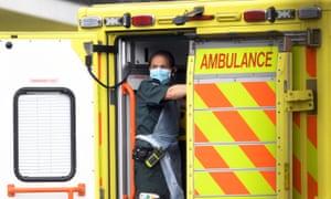 London ambulance service staff at Northwick Park hospital, London.