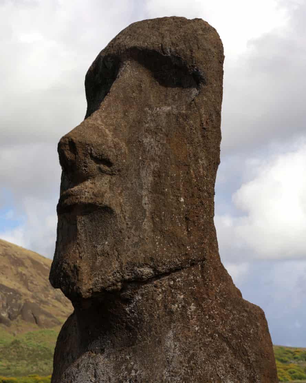 A moai stone statue at the Hanga Roa quarry.