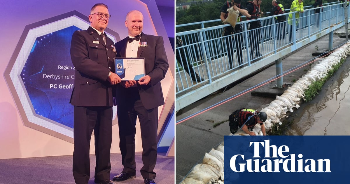 Derbyshire PC who risked life to stop dam collapsing wins bravery award