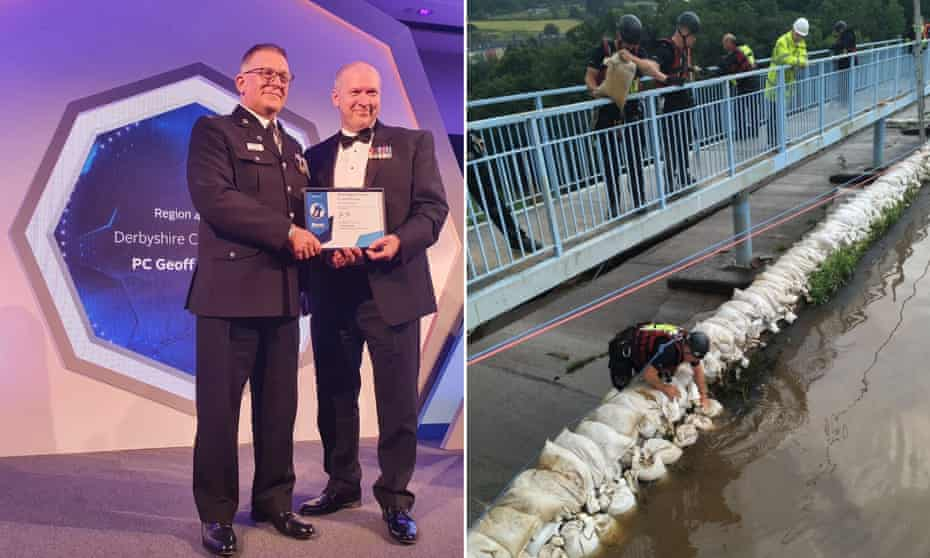 PC Geoff Marshall receives his award at the pandemic-delayed ceremony for his actions, right, at the Toddbrook reservoir.
