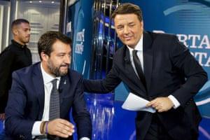 Rome, ItalyItalian Lega party's Secretary Matteo Salvini (L) with Leader of Italian party 'Italia Viva', Matteo Renzi chat during the Raiuno Italian program 'Porta a porta'