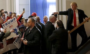 US Republican presidential candidate Donald Trump leaves a campaign event in Cedar Rapids, Iowa. The Un refugees chief has said refusal to take in those fleeing persecution helps extremists groups.<br>