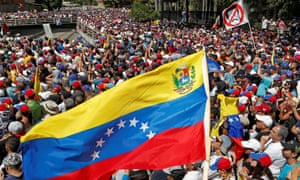 Opposition supporters protest against the government of the Venezuelan president, Nicolás Maduro