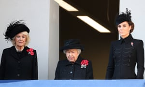 Camilla, Duchess of Cornwall, Queen Elizabeth and Catherine, Duchess of Cambridge, attend the annual Remembrance Sunday memorial in central London.