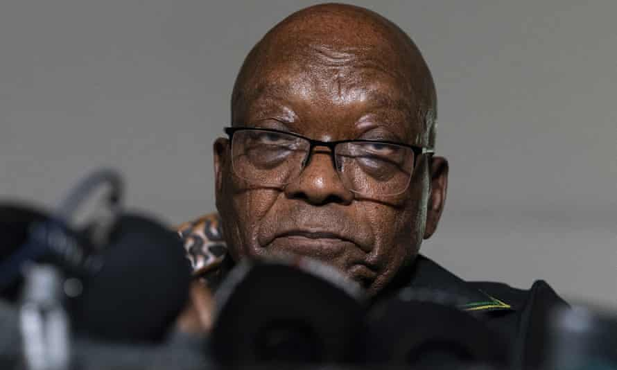 Jacob Zuma at a press conference on 4 July 2021. He handed himself in to police three days later.
