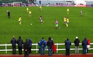 Fans watch Bristol City take on Birmingham City Ladies at Stoke Gifford Stadium in Bristol.