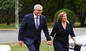 Scott Morrison and his wife Jenny in Canberra on Tuesday at the state funeral for former governor general Michael Jeffery