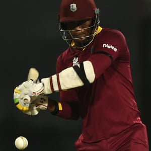 West Indies's Marlon Samuels in action today.