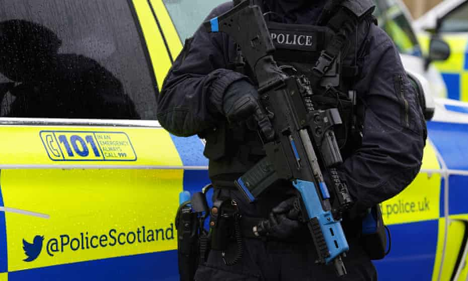 A Police Scotland officer in an armed response training exercise