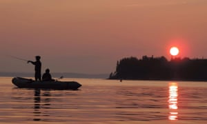 Fishing at dusk at Hackett's Cove, Nova Scotia.
