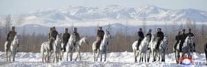 Kim also climbed the mountain, the highest peak on the Korean Peninsula, on horseback in mid-October.
