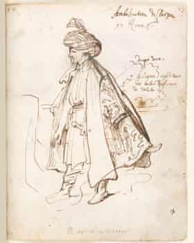 Sir Robert Sherley, the Ambassador of Persia in Rome, drawn by Anthony van Dyck, 1622.