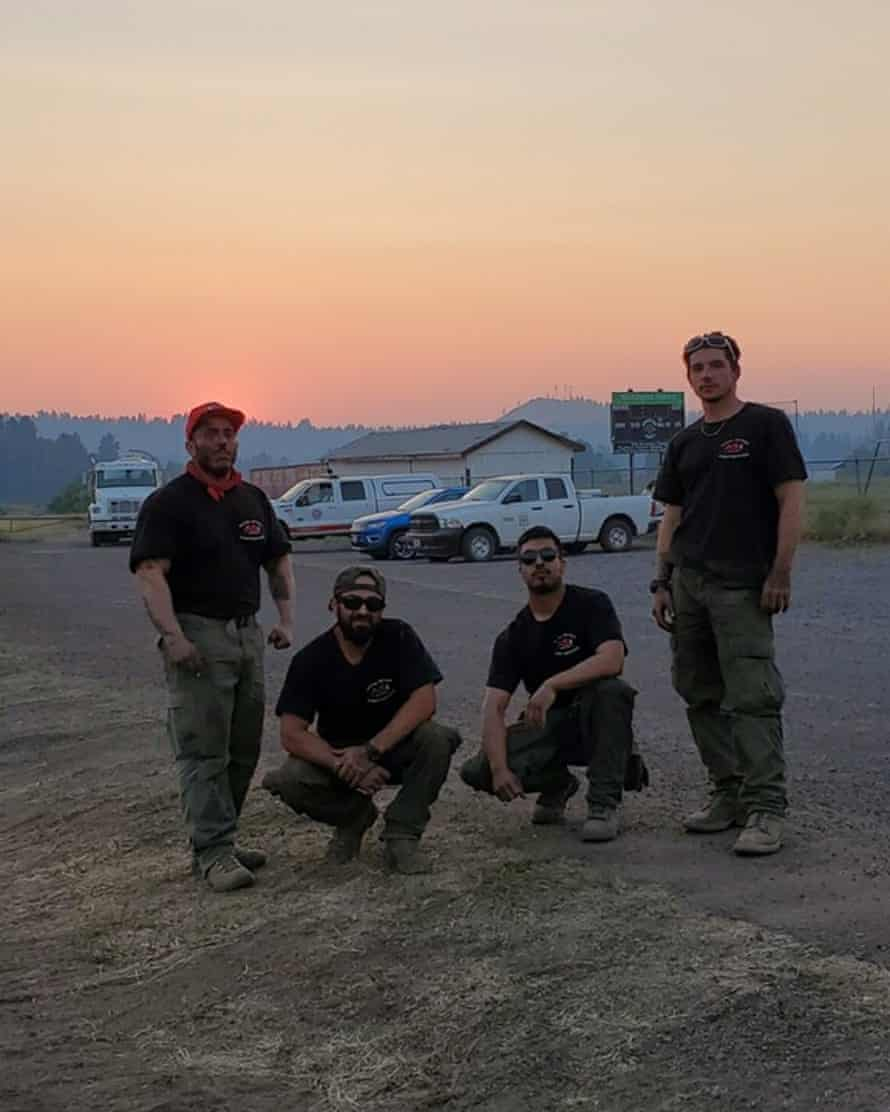 Photo of Montoya (on the far left) with other crew members.