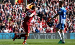 Liverpool's Andrew Robertson celebrates scoring his side's fourth.