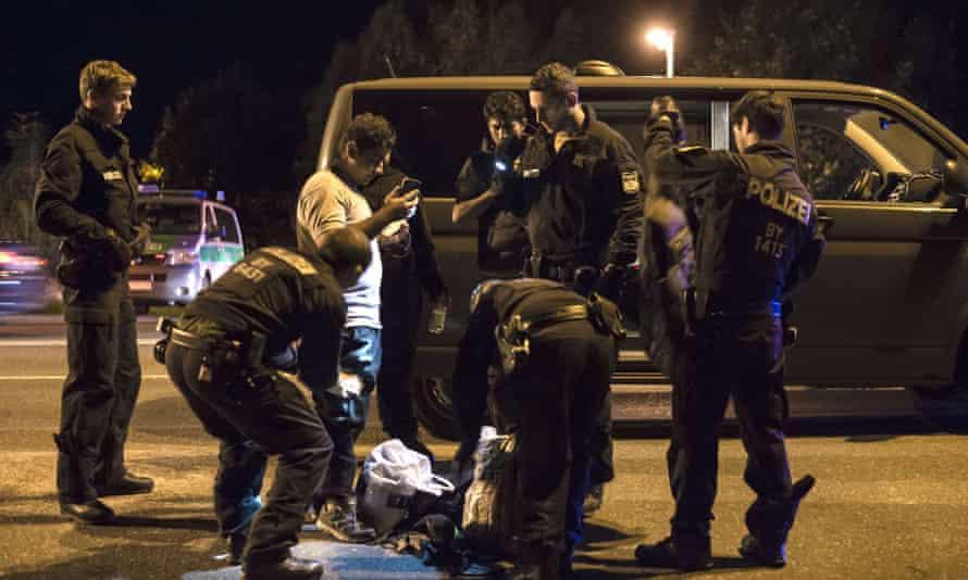 Police check migrants in September 2015 in  Freilassing.