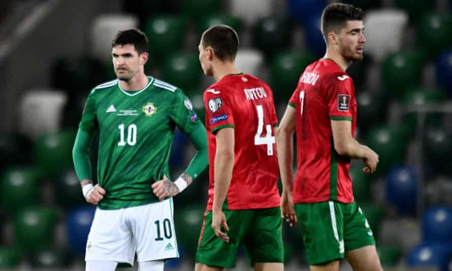 A frustrated Kyle Lafferty looks on during Northern Ireland's goalless draw with Bulgaria at Windsor Park