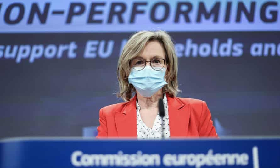 Financial services commissioner Mairead McGuinness speaking today at a news conference in Brussels about the European commission's plan for addressing non-performing loans