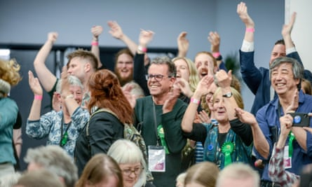 Green Party supporters celebrate local election victory in Brighton.