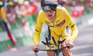 Richie Porte crosses the finish line of the final stage, a 34.1km time trial, in the Tour de Suisse