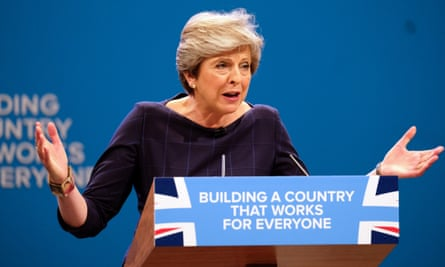 Theresa May addresses the Tory party conference in Manchester last month