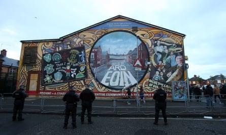 Police officers near Belfast's Crumlin Road