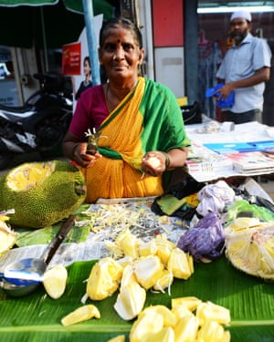 A trader selling fresh jackfruit in Chennai.