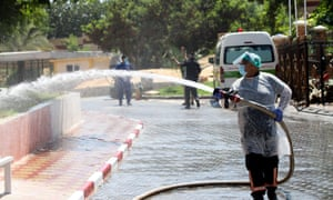 Crews of the Palestinian Civil Defence disinfect the site of the Indonesian hospital in the Jabalia refugee camp, after Covid-19 cases were registered in the hospital. The disinfection is part of the preventive measures in place in Jabalia, as well as in the rest of Gaza to contain the spread of Coronavirus.