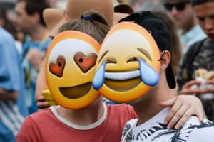 Emoji masks in the crowd in front of the Pyramid stage during Hacienda Classical