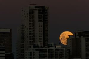 The super blue blood moon rises over Perth, western Australia