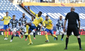 Danny Welbeck of Brighton and Hove Albion shoots from the rebound of the penalty that he missed.