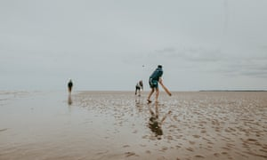 Patrick and co playing beach cricket on a sandbank off the north Norfolk coast.
