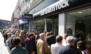 customer queue at a Northern Rock branch
