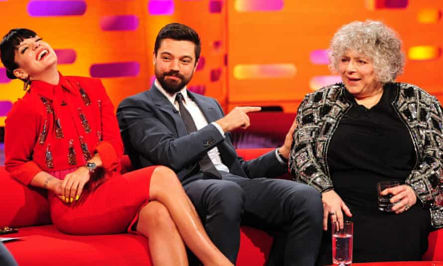 Lily Allen, Dominic Cooper and Miriam Margolyes during the filming of the Graham Norton Show.