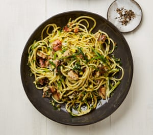 Yotam Ottolenghi's spaghetti with lemon, garlic and anchovies.