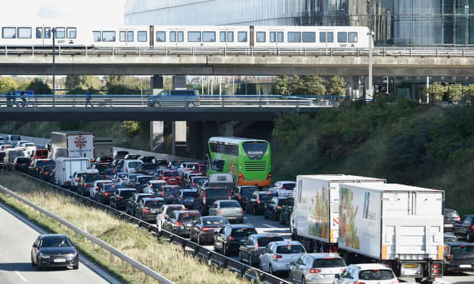 Vehicles jam the street leading to the Oeresund bridge near Copenhagen