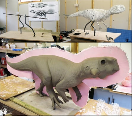 The reconstruction process for making a Psittacosaur.