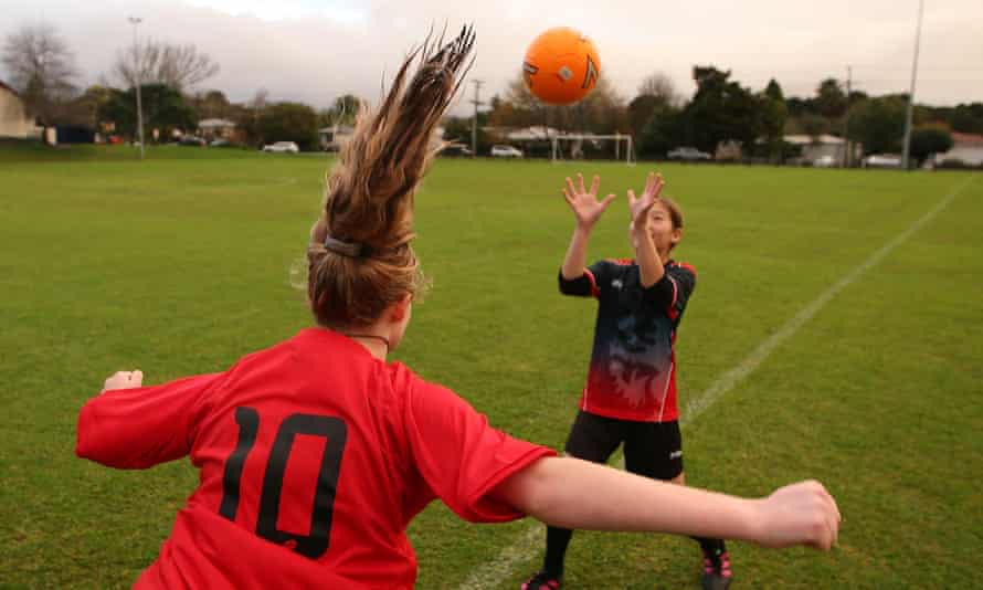 Young girls playing football in New Zealand last year.